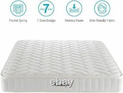 1326 Pocket Sprung Mattress 23 cm 5FT King Size Bed Memory Foam 7 Zoned Support