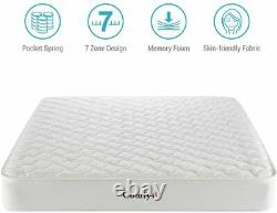 2000 5FT King Size Pocket Sprung Mattress 21 cm Bed Memory Foam 7 Zoned Support