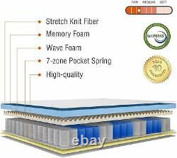 2000 Pocket Sprung Mattress 23cm 6FT Super King Size Memory Foam 7 Zoned Support