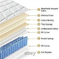 3ft Single Mattress Memory Foam Pocket Sprung Mattress Medium Firm 27cm Kids