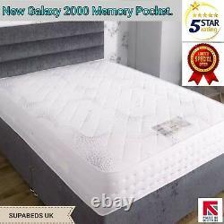 4ft6 Double 4FT New Luxury 2000 Pocket Spring Mattress Memory Foam Tencel Fabric
