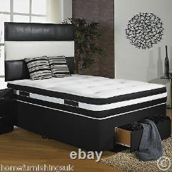 4ft Small Double 1000 Pocket Air Flow Memory Foam Divan Bed + Drawers/headboard