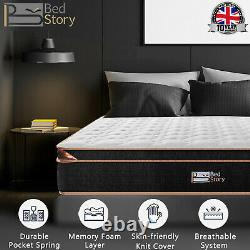 BedStory 10in Pocket Spring Memory Foam Hybrid 3Ft Single Mattress Orthopaedic