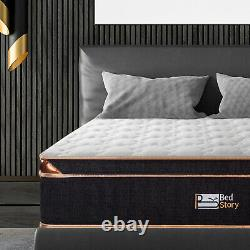 BedStory 10in Pocket Spring Memory Foam Single Mattress 3D Bamboo Fiber Cover