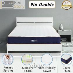 BedStory 22cm Pocket Spring 4ft6 Double Mattress Memory Foam Orthopedic Mattress