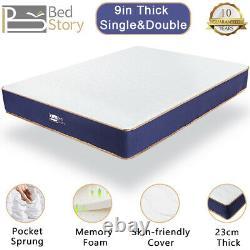 BedStory 9in Pocket Sprung Single Double Mattress Memory Foam 3ft 4ft6 Mattress