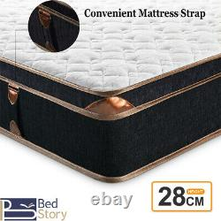 BedStory Mattress Memory Foam Pocket Spring Double 4FT6 Bamboo Fiber Cover