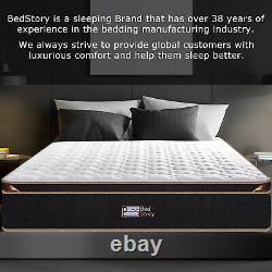 Bedstory 10in Mattress Pocket Spring Memory Foam Hybrid Mattresses Double 4ft6