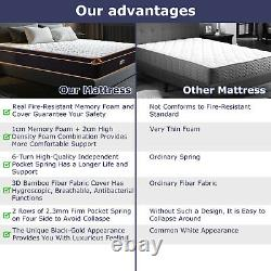 Bedstory 10in Mattress Pocket Sprung Memory Foam Hybrid 4ft6 Double Mattresses