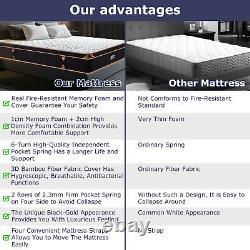 Bedstory Pocket Sprung Mattress Memory Foam 25CM Single 3ft Bed Hypoallergenic