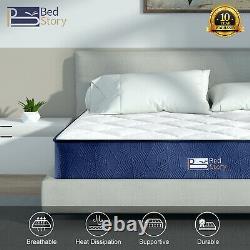 Bedstory Pocket Sprung Memory Foam Single Double Mattress 10in 9in 5.5in Depth
