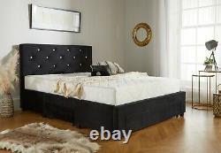 Chesterfield Velvet 3 Drawer Storage Bed & Memory Foam Mattress, Double & King