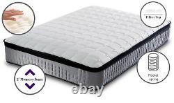 Deluxe Pillow top 3000 pocket sprung grey mattress cashmere spring memory foam