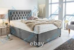 Divan Velvet Bed with Memory Foam Mattress Headboard Double King Small Single