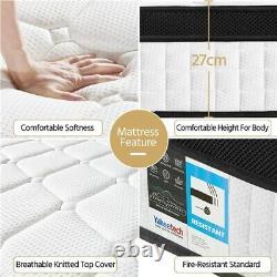 Double Mattress 4ft 6 Memory Foam Pocket Sprung Mattress Medium 27cm Height