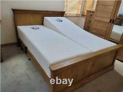Electric Adjustable 5ft Dual Or Non-Dual King Size Solid White Oak Worsley Bed