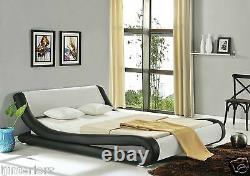 Enzo Italian Modern Small Double King Size Leather Bed + Memory Foam Mattress