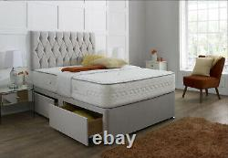 FABRIC SUEDE CHESTERFIELD DIVAN BED SET + MEMORY MATTRESS 4FT6 Double 5FT King