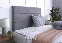 FABRIC SUEDE MATCH DIVAN BED SET + MEMORY SPRING MATTRESS 4FT6 Double 5FT King