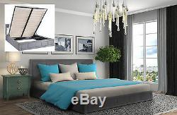 Fabric Gas Lift Storage Bed Double & King Size Bed Memory Foam Mattresses