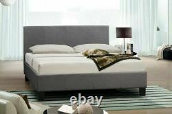 Fabric Grey Box Bed Frame Optional Mattress, Memory Foam, Orthopeaadic, Pocket