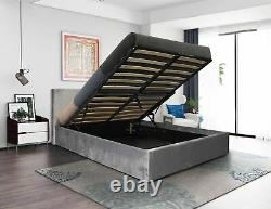 Fabric Ottoman Storage Bed With Memory Foam Mattress Options 3FT 4FT 4FT6 5FT