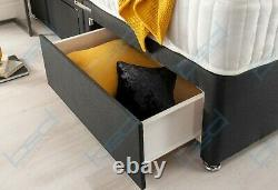 GREY DIVAN BED with MEMORY FOAM MATTRESS & HEADBOARD 3FT SINGLE 4FT6 DOUBLE 5FT
