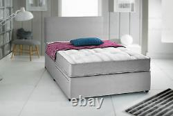 GREY SUEDE POCKET MEMORY FOAM DIVAN BED SET & HEADBOARD 3FT 4FT6 Double 5FT KING
