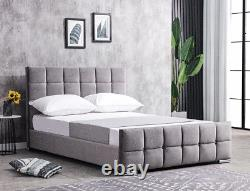 Grey Plush Velvet Bed Frame + Memory Foam Mattress 4FT6 Double 5FT King Size