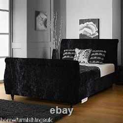 Hf4you Crushed Velvet Limcho Fabric Sleigh Bedstead + Memory Mattress Options