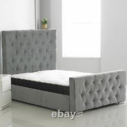 Hf4you Crushed Velvet Or Chenille Nina Bed Frame With Mattress Free Delivery