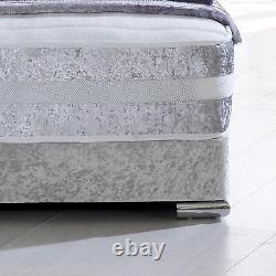 Hf4you Franklin 1000 Pocket Sprung Memory Foam Bed Set Crushed Velvet Silver