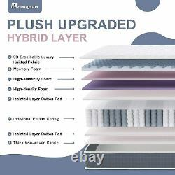 HomyLink 4FT Small Double Mattress Pocket Sprung Memory Foam 9-Zone Orthopaedic