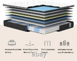 Inofia 3FT Single Memory Foam Pocket Sprung Mattress Pressure Relief Breathable