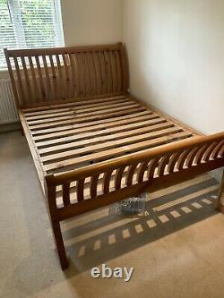 King Size Oak Bed Frame And Pocket Sprung Mattress With Memory Foam Layer