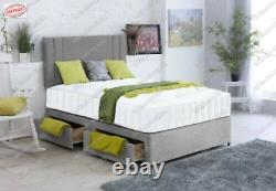 Lily Velvet Memory Foam Divan Bed Set With Mattress Headboard 3ft 4ft6 5ft 6ft