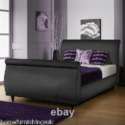Limcho Chenille 3ft/3ft6/4ft/4ft6/5ft/6ft Sleigh Bed + Colour + Mattress Options