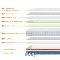 MAXZZZ 8in Pocket Sprung Memory Foam Hybrid 3ft Single 4ft6 Double Mattress