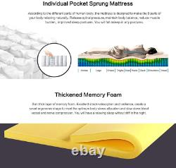 Mattress Pocket Sprung Memory Foam 9-Zone Orthopaedic 23.5cm Height 3d Fabric Ne