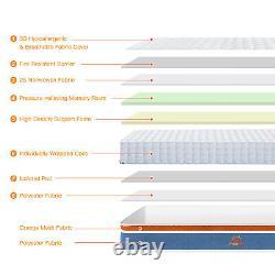 Maxzzz 20cm Pocket Sprung Memory Foam Hybrid Single Double Mattress 4ft6 3ft