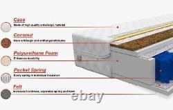 Memory Foam Pocket Sprung Mattress Coconut IKEA Euro Size 2FT6 3FT 4FT6 5FT 6FT