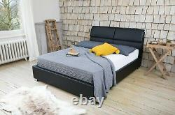 Milan Bed 4ft6 Double & 5ft Kingsize Modern Leather Frame Memory & Foam Mattress