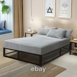 Modern Attic Or Loft Low Platform Black Metal Bed Frame Single, Double, KingSize