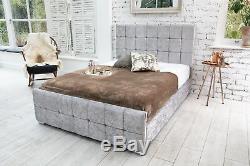 Modern Crushed Velvet Cube Storage Fabric Bed Double Memory Foam Mattress