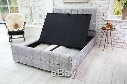 Modern Crushed Velvet Storage Fabric Bed Double Kingsize Memory Foam Mattress