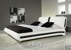 Modern Double Or King Size Leather Bed Black & White + Memory Foam Mattress Beds