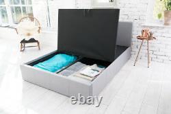 Modern Grey Fabric Storage 4ft6 Uk Double 5ft Kingsize Bed Memory Foam Mattress