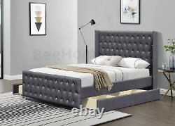 Montreal Storage High Wing 4 Drawer Bed, Crushed Velvet, Linen, Double & King