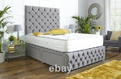 NAPLES SUEDE CHESTERFIELD DIVAN BED SET + MEMORY MATTRESS 4FT6 Double 5FT King