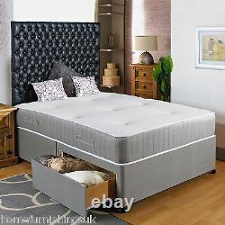 NEW 3ft6 Large Single DIVAN BED + POCKET SPRUNG MEMORY FOAM MATTRESS+HEADBOARD